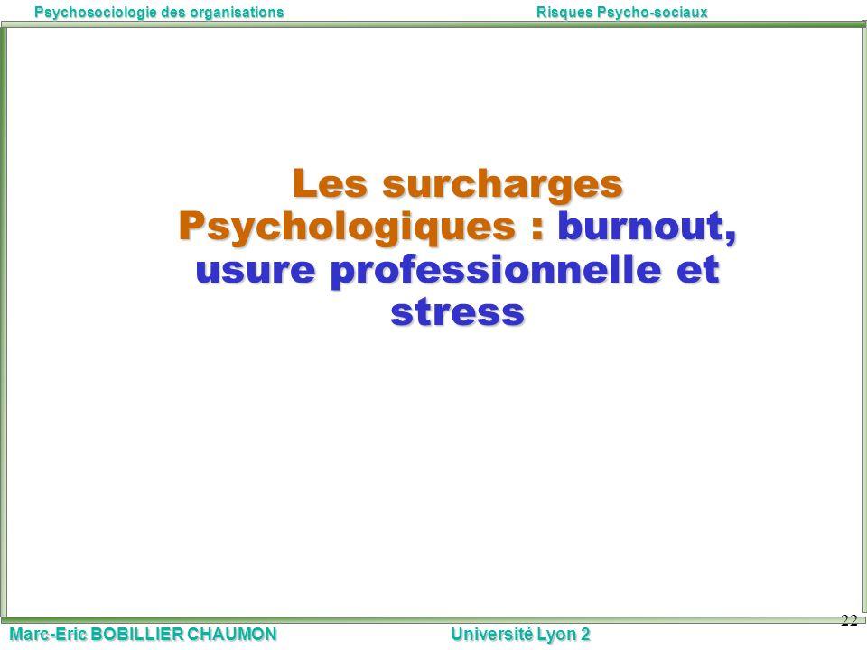 Les surcharges Psychologiques : burnout, usure professionnelle et stress