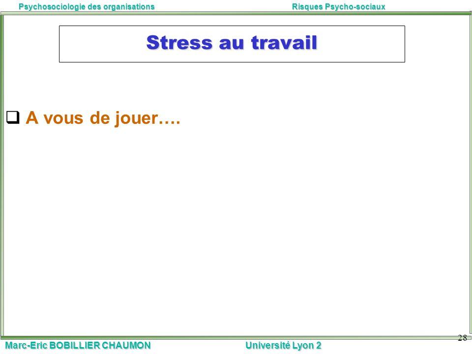 Stress au travail A vous de jouer….