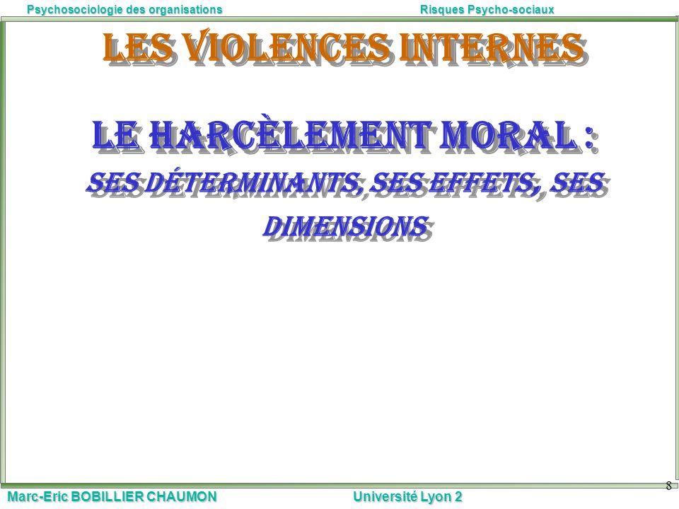 Les violences internes Le harcèlement moral : ses déterminants, ses effets, ses dimensions