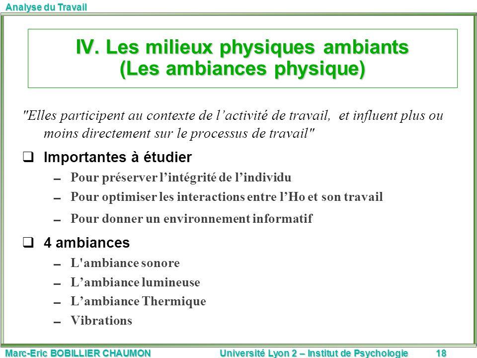 IV. Les milieux physiques ambiants (Les ambiances physique)