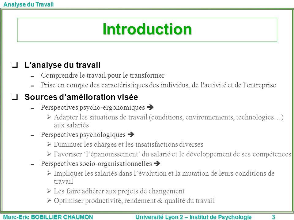 Introduction L analyse du travail Sources d'amélioration visée