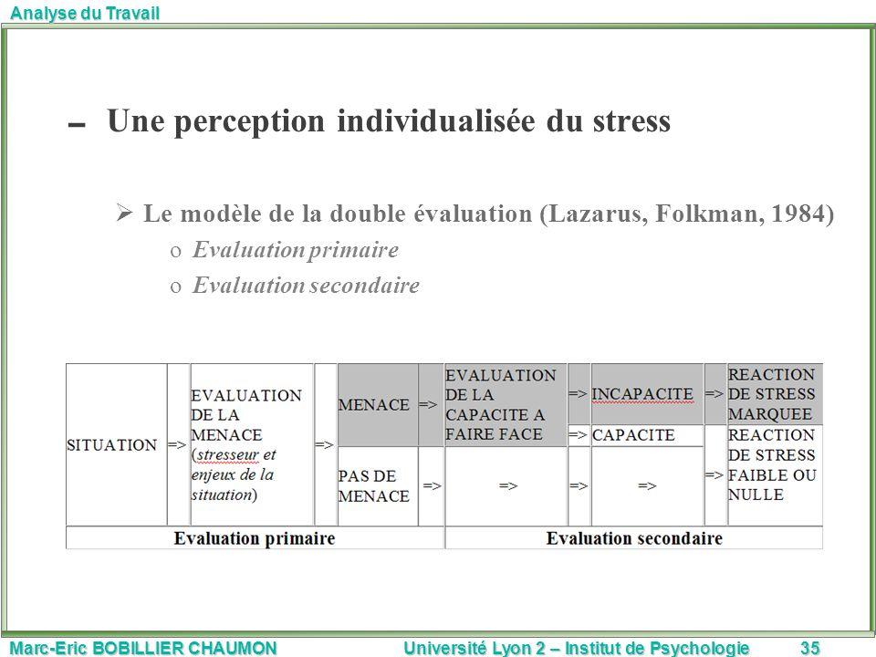 Une perception individualisée du stress