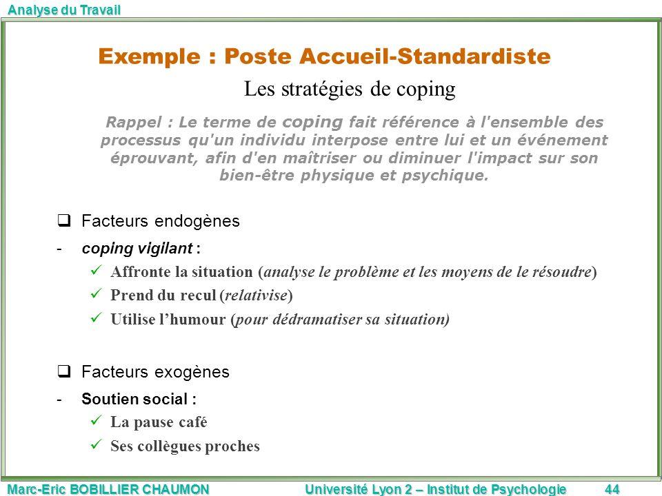 Exemple : Poste Accueil-Standardiste Les stratégies de coping