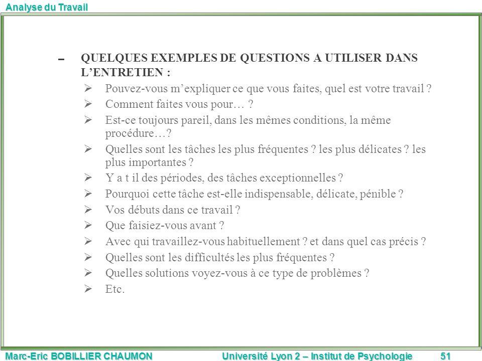 QUELQUES EXEMPLES DE QUESTIONS A UTILISER DANS L'ENTRETIEN :