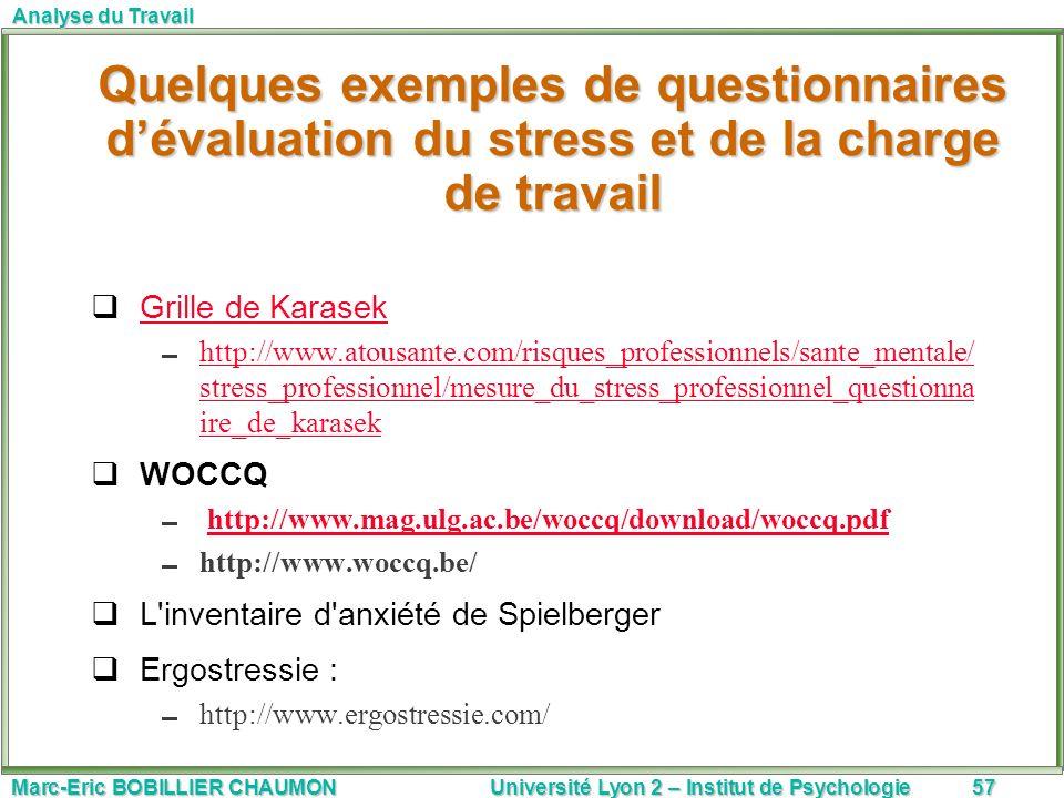 Quelques exemples de questionnaires d'évaluation du stress et de la charge de travail