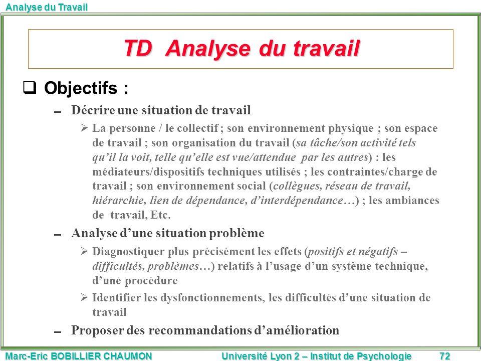 TD Analyse du travail Objectifs : Décrire une situation de travail