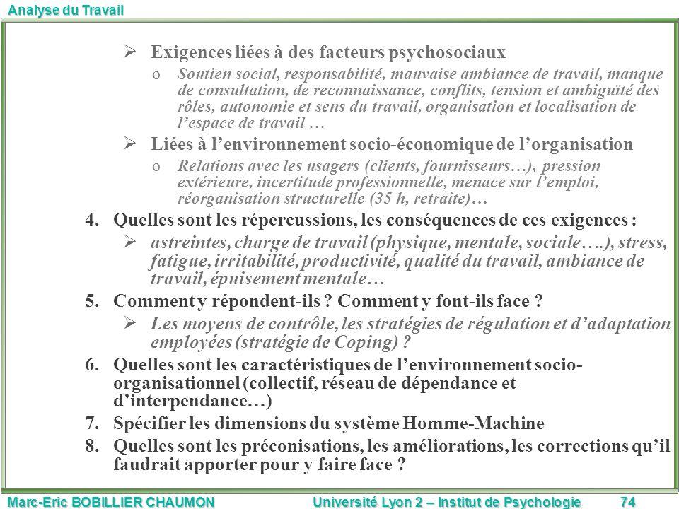 Exigences liées à des facteurs psychosociaux
