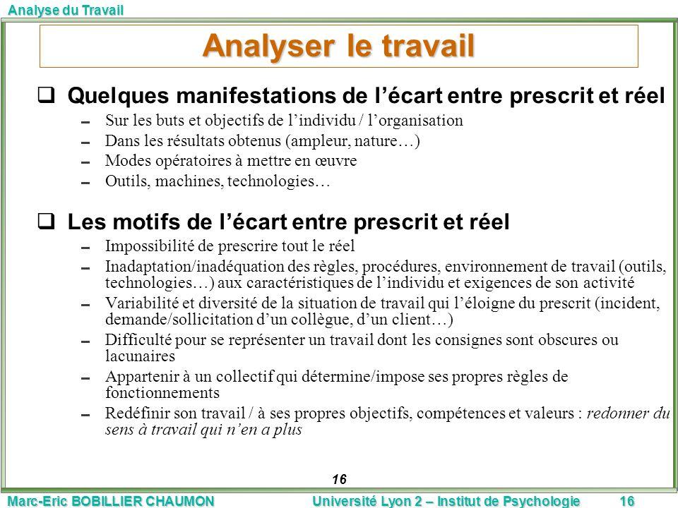 Analyser le travail Quelques manifestations de l'écart entre prescrit et réel. Sur les buts et objectifs de l'individu / l'organisation.