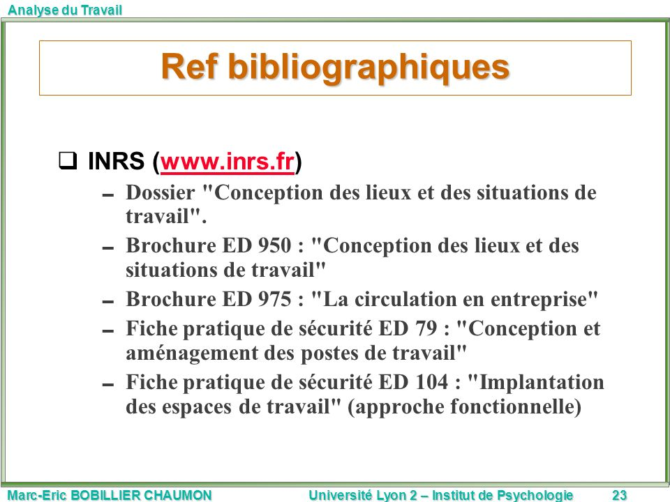 Ref bibliographiques INRS (www.inrs.fr)