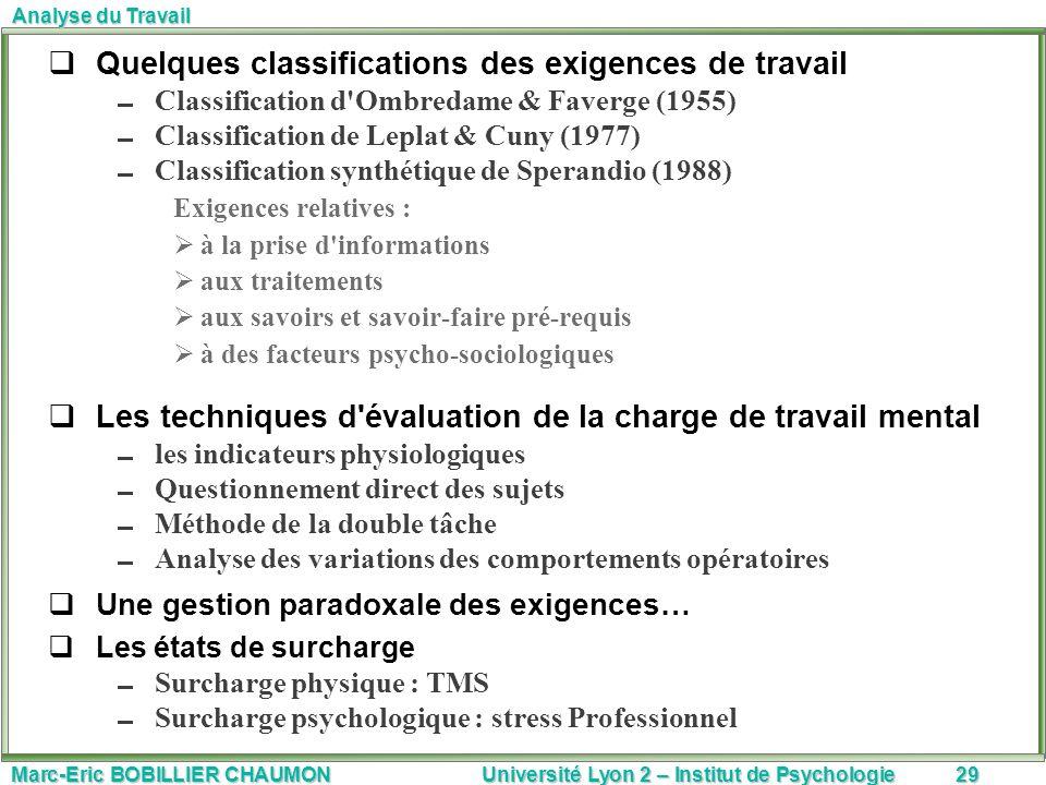 Quelques classifications des exigences de travail