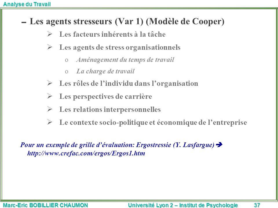 Les agents stresseurs (Var 1) (Modèle de Cooper)