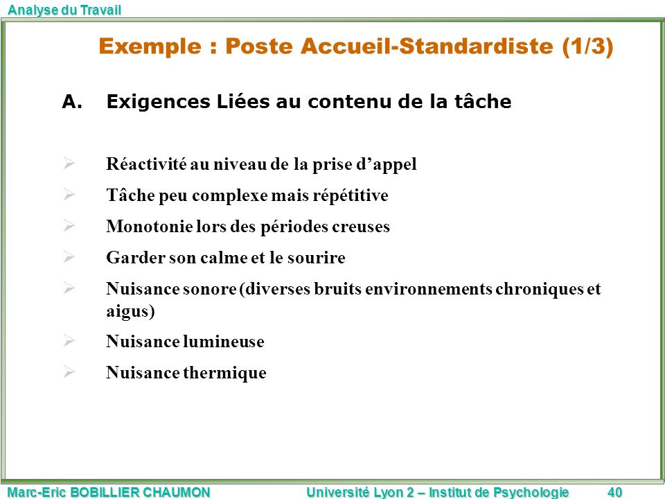 Exemple : Poste Accueil-Standardiste (1/3)