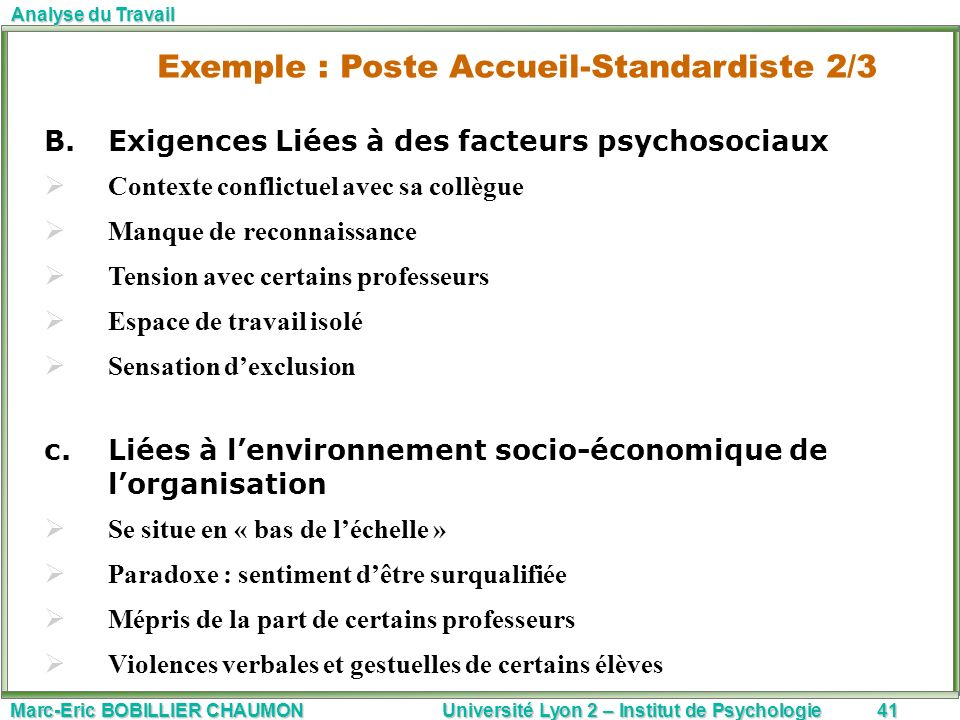 Exemple : Poste Accueil-Standardiste 2/3