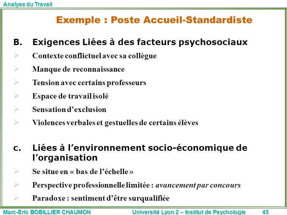 Exemple : Poste Accueil-Standardiste
