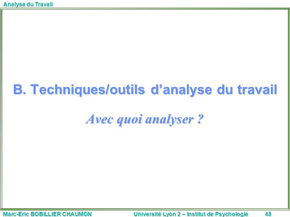 B. Techniques/outils d'analyse du travail Avec quoi analyser