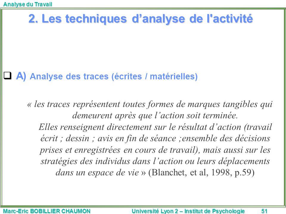 2. Les techniques d'analyse de l activité