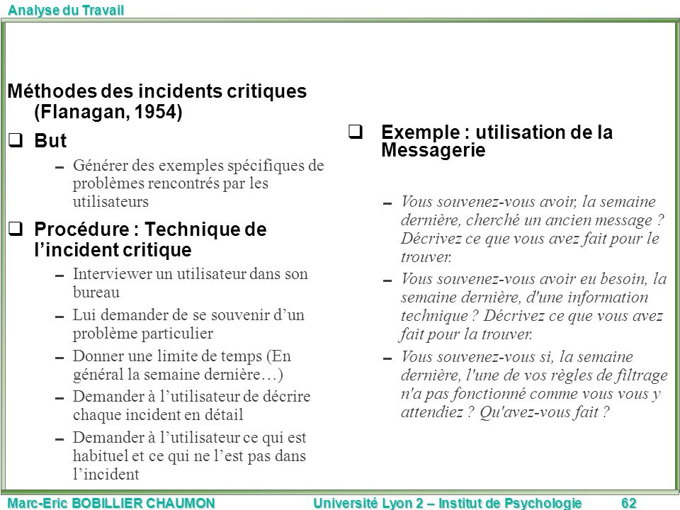 Méthodes des incidents critiques (Flanagan, 1954) But