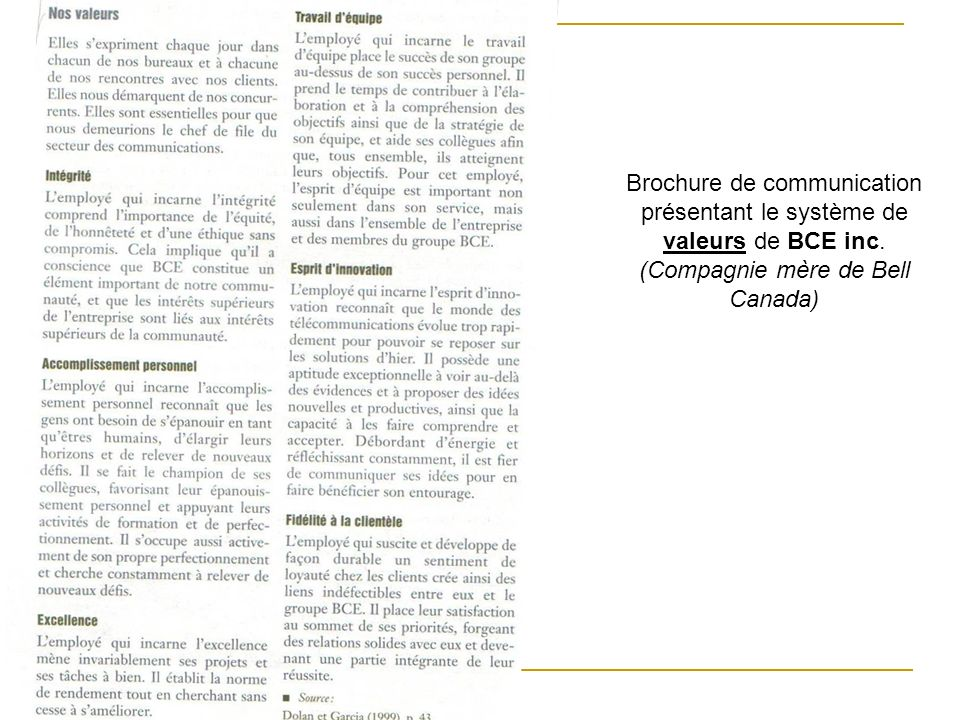 Brochure de communication présentant le système de valeurs de BCE inc.
