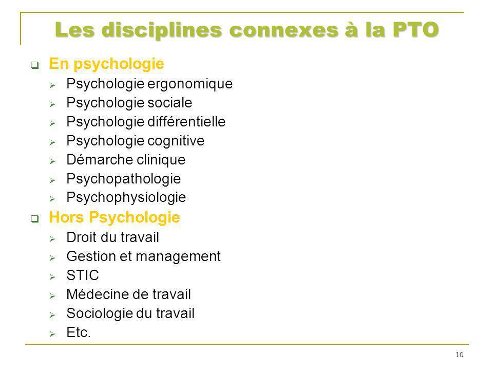 Les disciplines connexes à la PTO