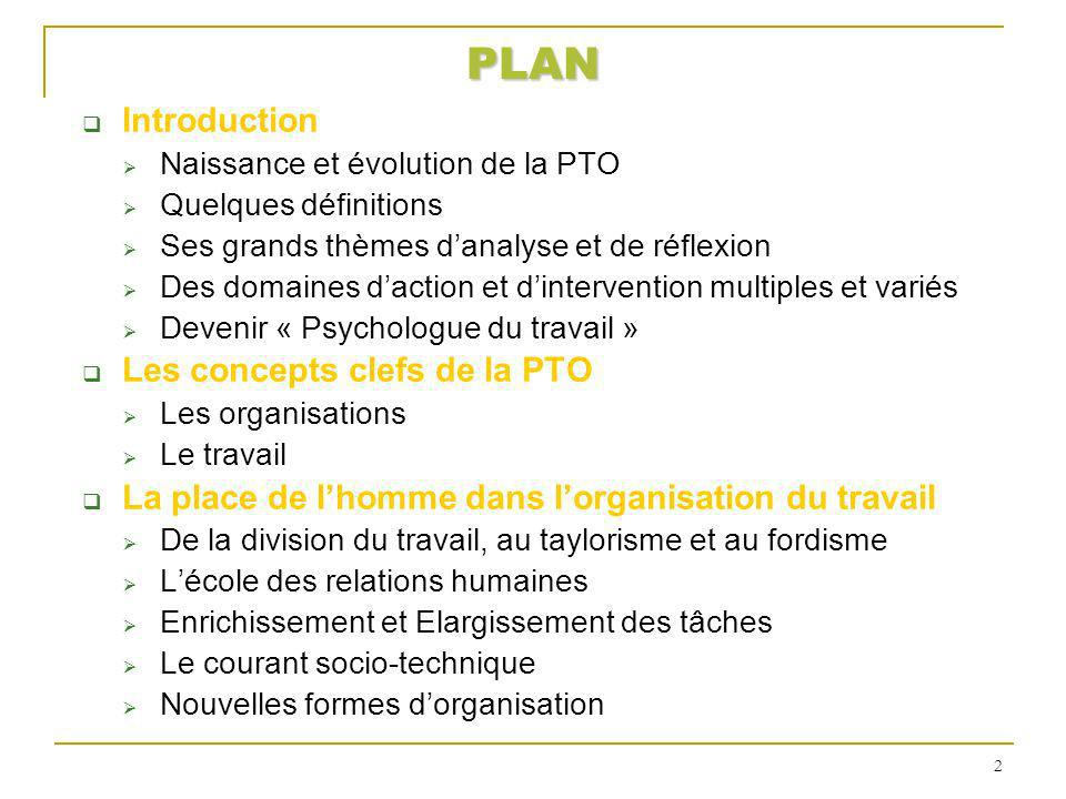 PLAN Introduction Les concepts clefs de la PTO
