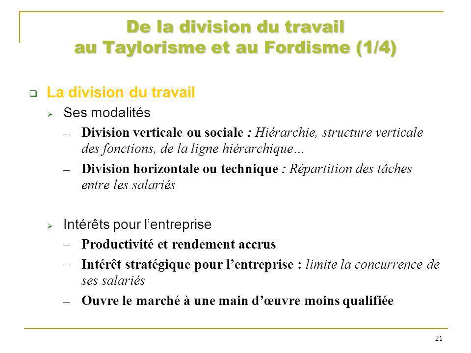 De la division du travail au Taylorisme et au Fordisme (1/4)