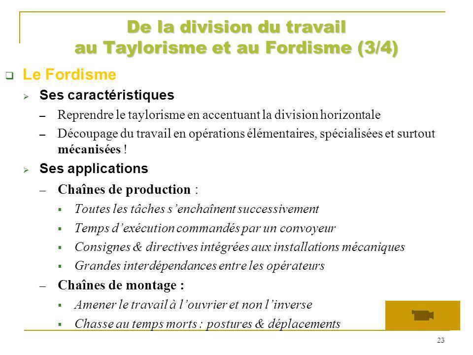 De la division du travail au Taylorisme et au Fordisme (3/4)