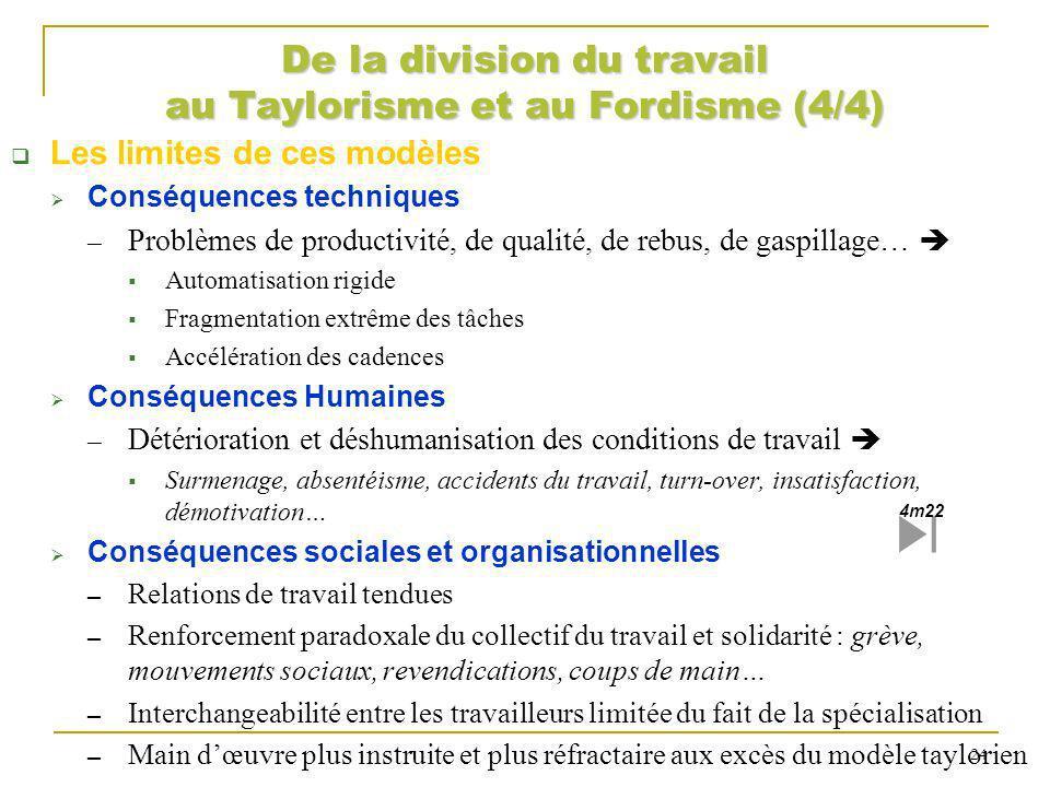 De la division du travail au Taylorisme et au Fordisme (4/4)