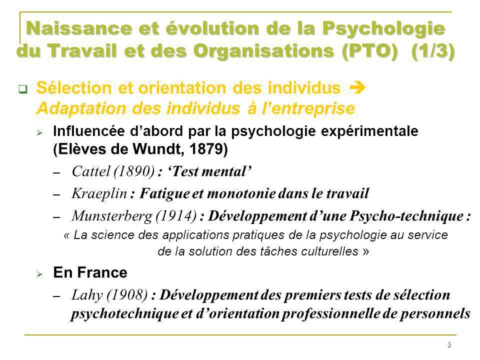 Naissance et évolution de la Psychologie du Travail et des Organisations (PTO) (1/3)