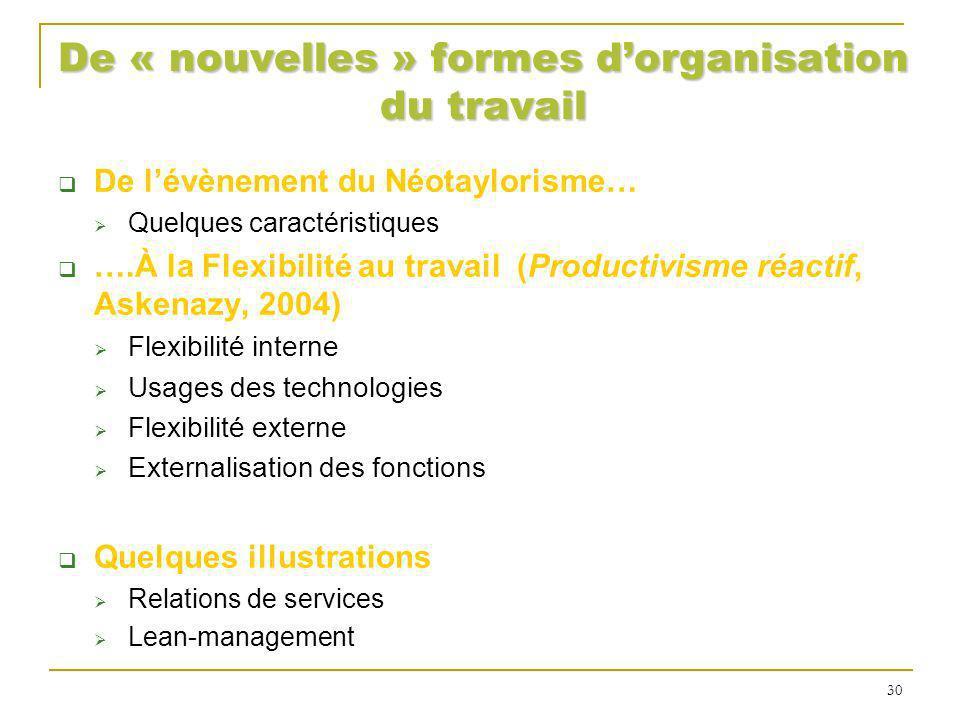 De « nouvelles » formes d'organisation du travail