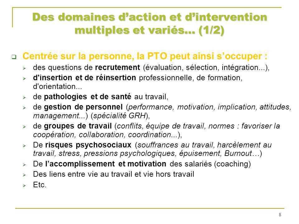 Des domaines d'action et d'intervention multiples et variés… (1/2)