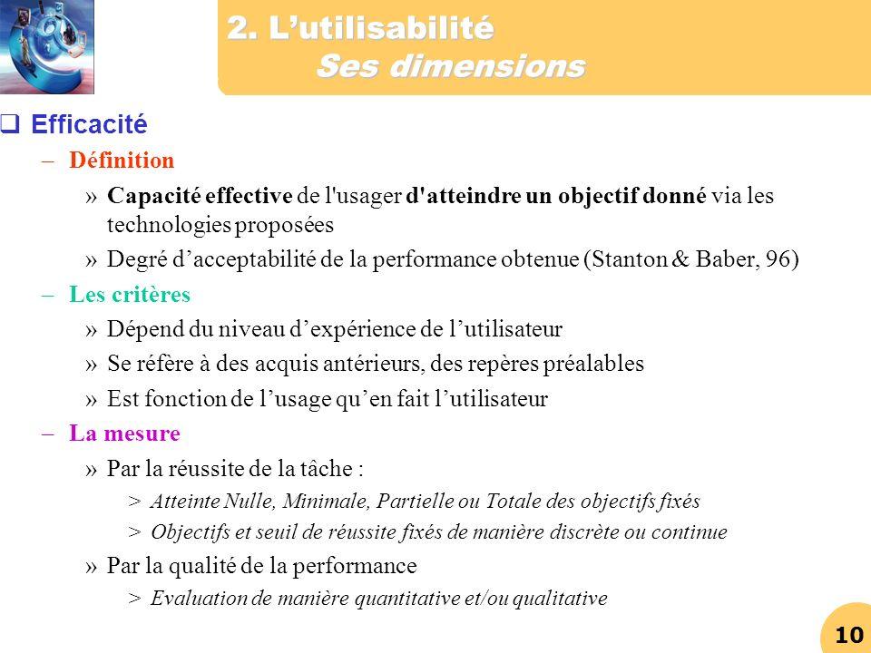 2. L'utilisabilité Ses dimensions