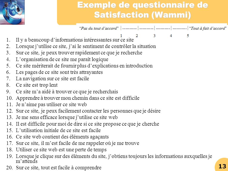 Exemple de questionnaire de Satisfaction (Wammi)