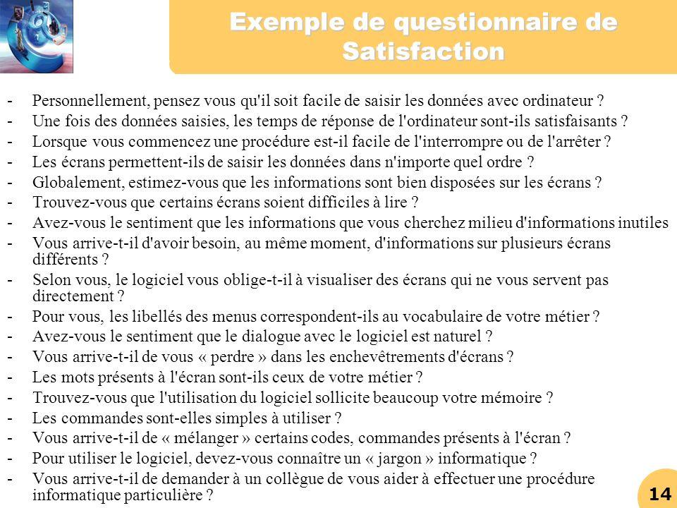 Exemple de questionnaire de Satisfaction