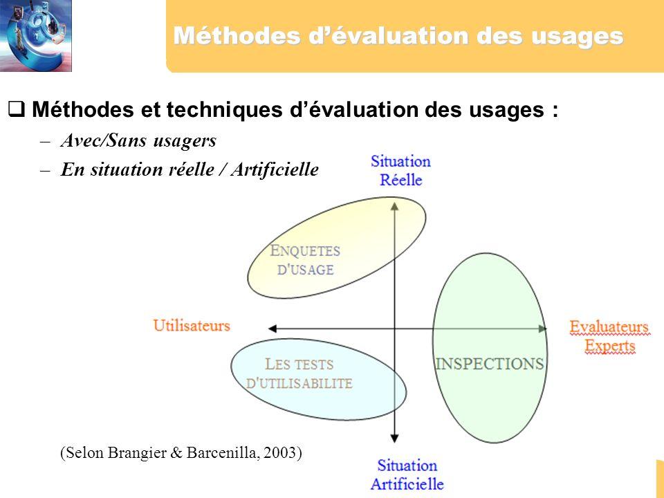 Méthodes d'évaluation des usages