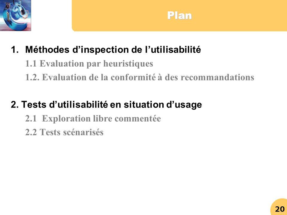 Plan Méthodes d'inspection de l'utilisabilité
