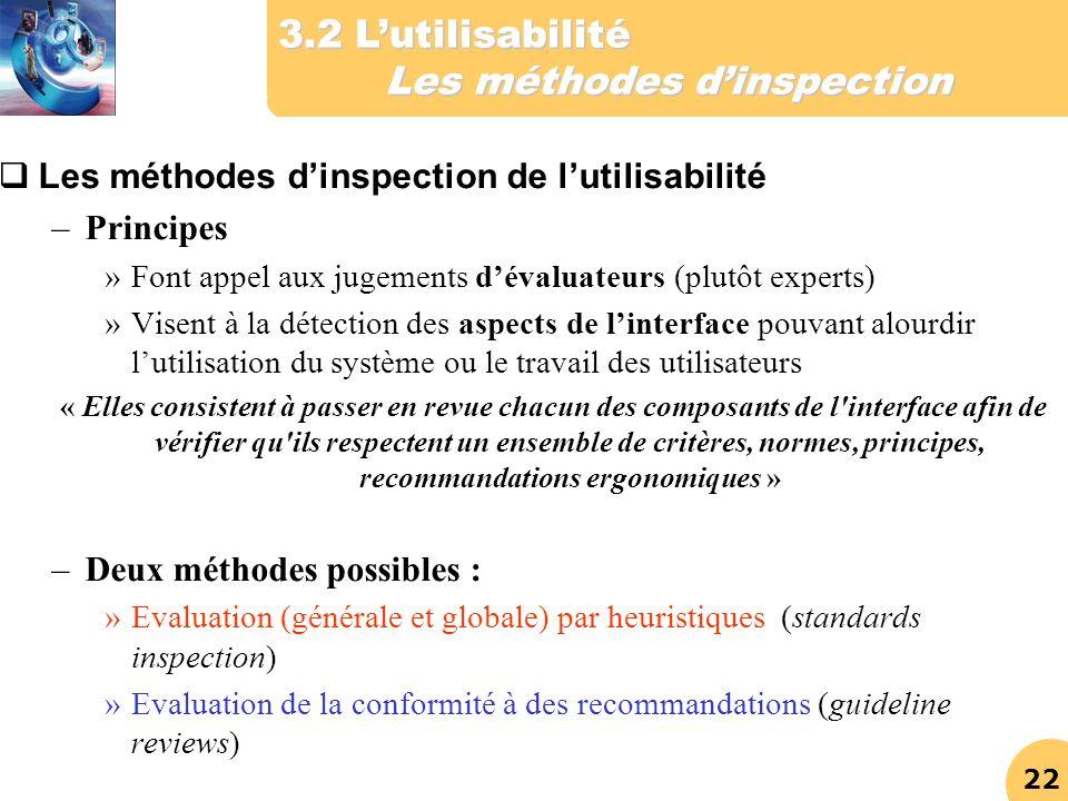 3.2 L'utilisabilité Les méthodes d'inspection