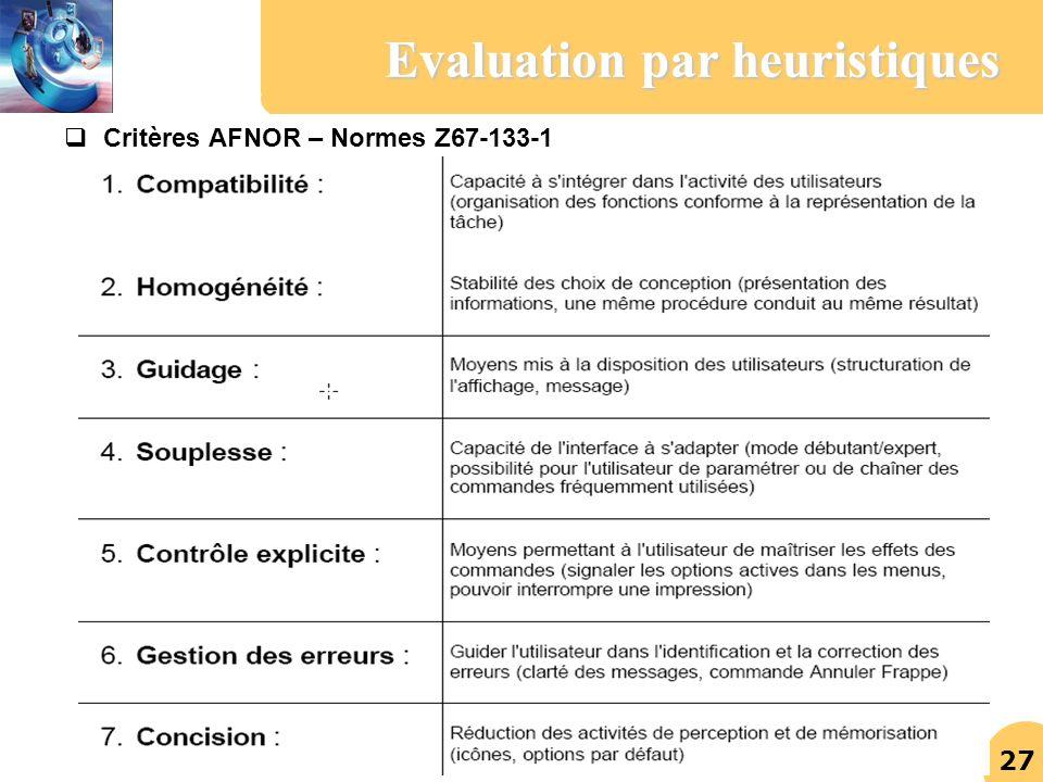 Evaluation par heuristiques