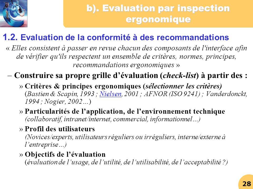 b). Evaluation par inspection ergonomique