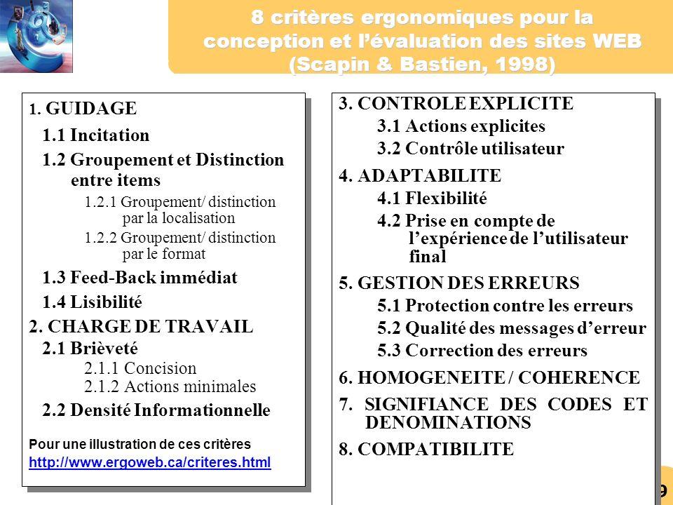 8 critères ergonomiques pour la conception et l'évaluation des sites WEB (Scapin & Bastien, 1998)