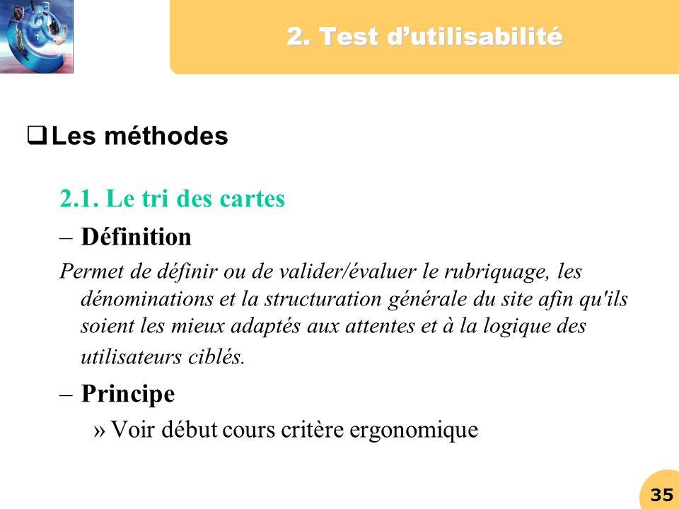 Les méthodes 2.1. Le tri des cartes Définition Principe