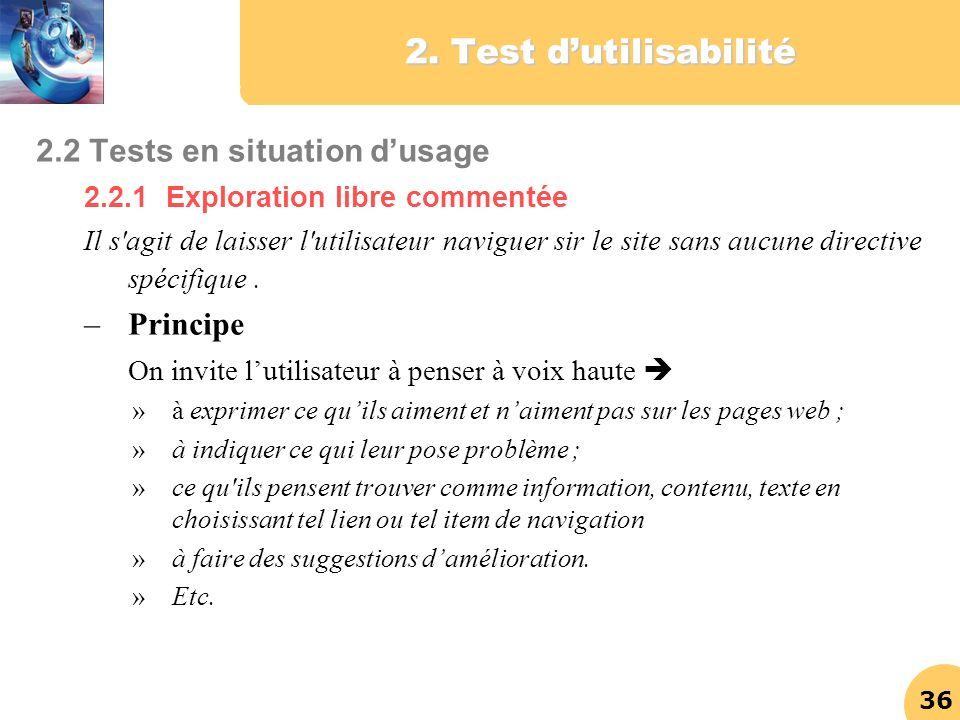 2. Test d'utilisabilité 2.2 Tests en situation d'usage