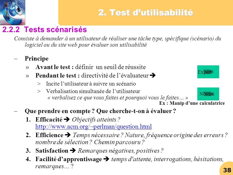 2. Test d'utilisabilité 2.2.2 Tests scénarisés Principe