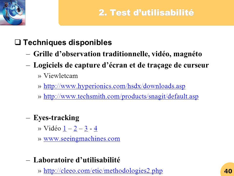 2. Test d'utilisabilité Techniques disponibles