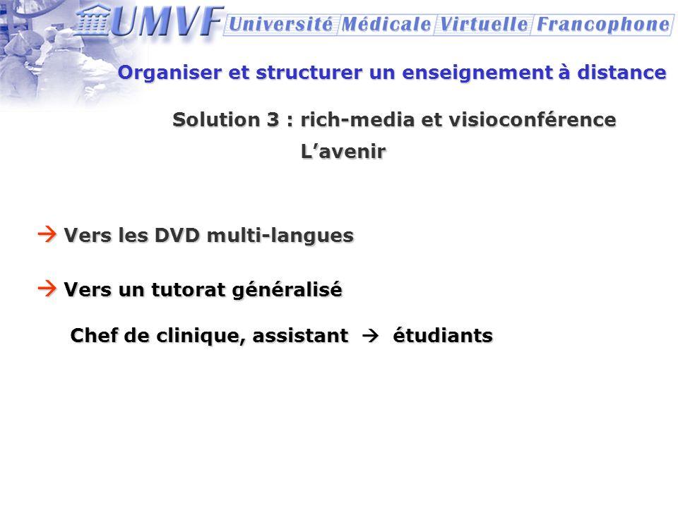  Vers les DVD multi-langues  Vers un tutorat généralisé
