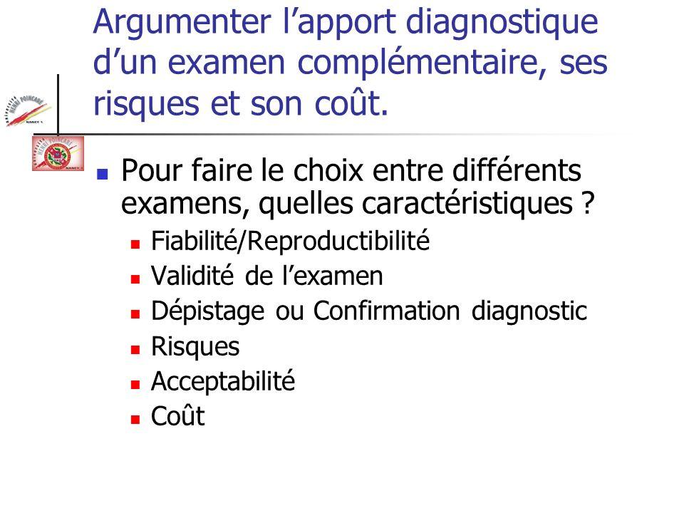 Argumenter l'apport diagnostique d'un examen complémentaire, ses risques et son coût.