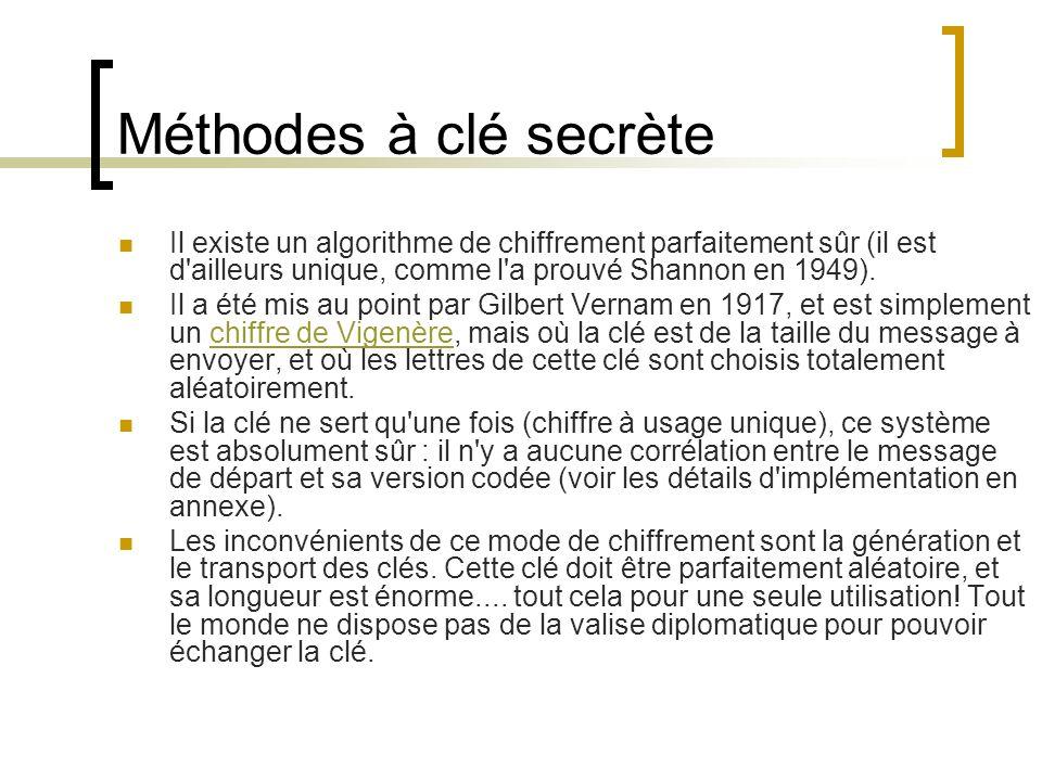 Méthodes à clé secrète Il existe un algorithme de chiffrement parfaitement sûr (il est d ailleurs unique, comme l a prouvé Shannon en 1949).