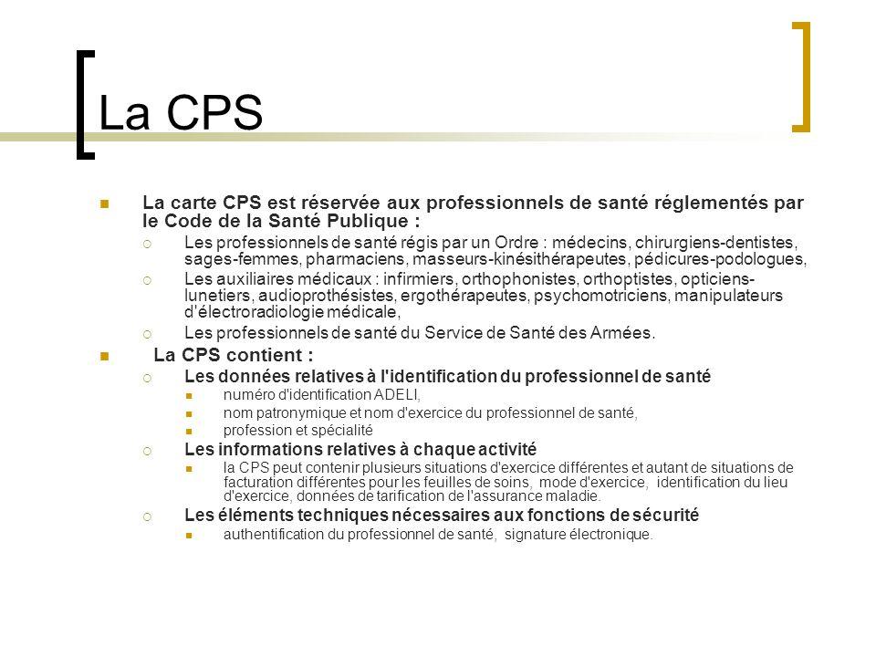 La CPS La carte CPS est réservée aux professionnels de santé réglementés par le Code de la Santé Publique :