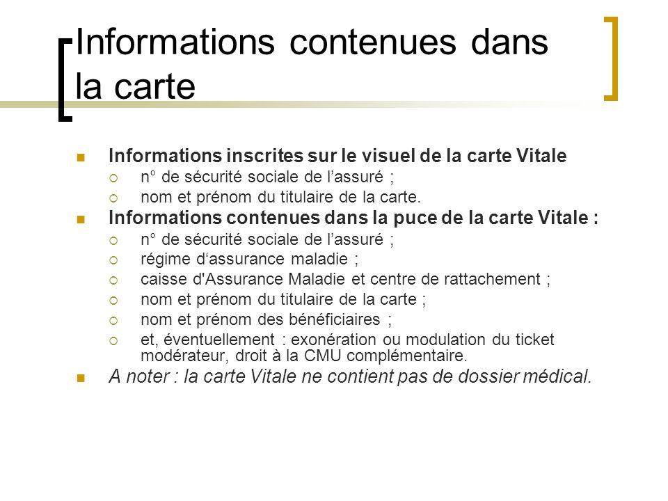 Informations contenues dans la carte