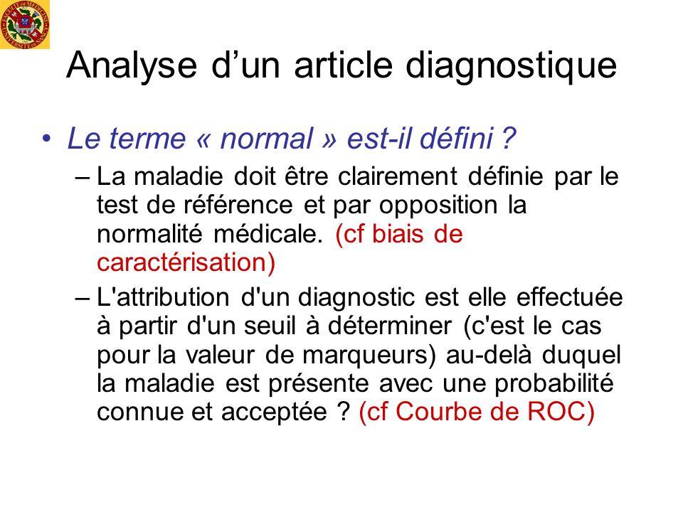 Analyse d'un article diagnostique