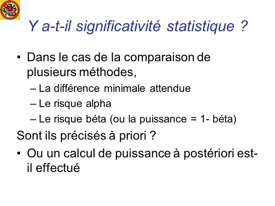 Y a-t-il significativité statistique